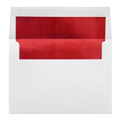 LUX® 60lbs. 5 3/4 x 8 3/4 A9 Invitation Envelopes W/Peel & Press, White/Red LUX, 250/BX