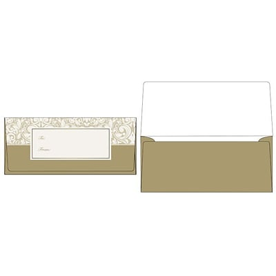 LUX® 70lbs. 2 7/8 x 6 1/2 Square Flap Currency Envelopes; Gold Damask, 1000/BX