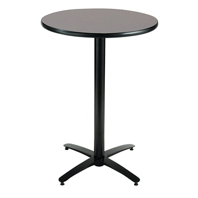 KFI® Seating 38 x 30 Round HPL Pedestal Table With Black Arched Base, Graphite Nebula, 2/Pk