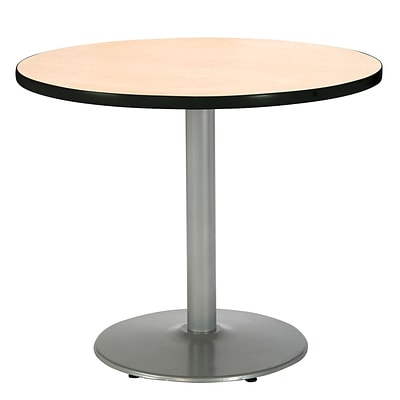 KFI® Seating 38 x 42 Round HPL Pedestal Table With Silver Base, Natural, 2/Pk
