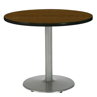 KFI® Seating 29 x 30 Round HPL Pedestal Table With Silver Base, Walnut, 2/Pk