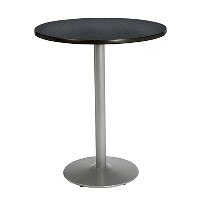 KFI® Seating 38 x 42 Round HPL Pedestal Table With Silver Base, Graphite Nebula, 2/Pk
