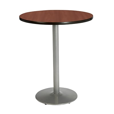 KFI® Seating 38 x 30 Round HPL Pedestal Table With Silver Base, Mahogany, 2/Pk