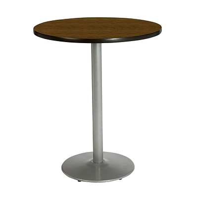 KFI® Seating 29 x 42 Round HPL Pedestal Table With Silver Base, Walnut, 2/Pk