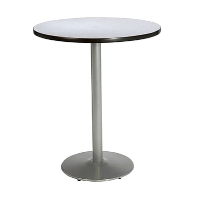 KFI® Seating 38 x 36 Round HPL Pedestal Table With Silver Base, Gray Nebula, 2/Pk