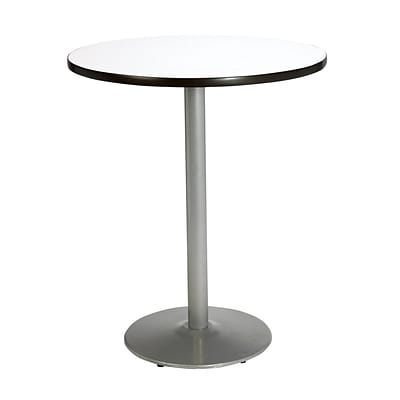 KFI® Seating 38 x 30 Round HPL Pedestal Table With Silver Base, Crisp Linen, 2/Pk
