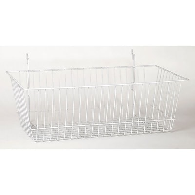 Wire Basket, White, 24 X 12 X 8