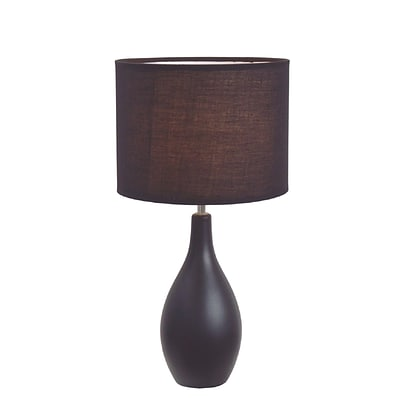 Simple Designs Oval Base Ceramic Table Lamp, Black Finish