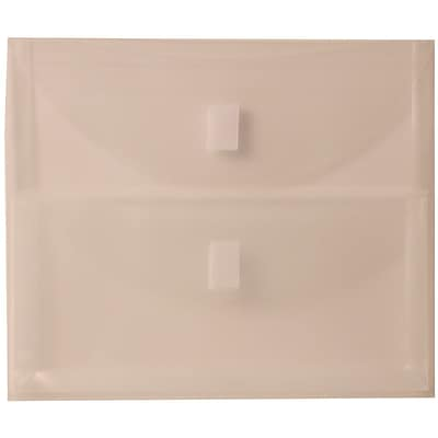 JAM Paper® Plastic 2 Pocket Envelopes with Hook & Loop Closure, Letter Booklet, 9.75 x 13, Clear Poly, 12/pack (B35218)