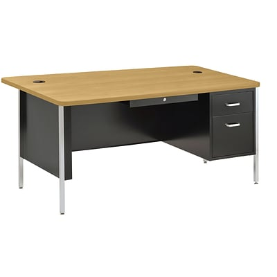 Sandusky® 60 x 30 Single Pedestal Steel Teachers Desk, Black/Maple
