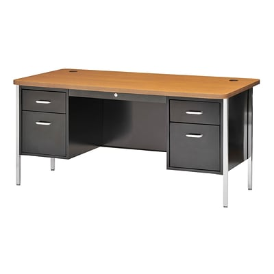 Sandusky® 60 x 30 Double Pedestal Steel Teachers Desk, Black/Medium Oak
