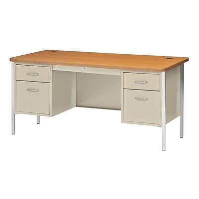 Sandusky® 60 x 30 Double Pedestal Steel Teachers Desk, Putty/Medium Oak