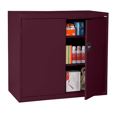 Sandusky® Elite 46 x 24 x 42 Counter Height Cabinet With Adjustable Shelves, Burgundy