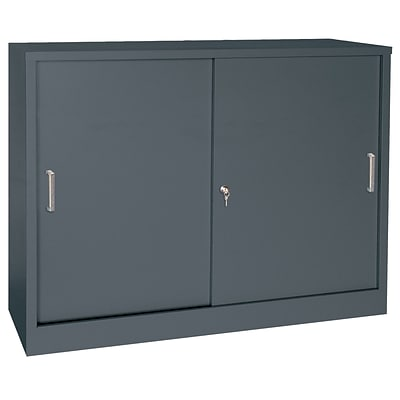 Sandusky® Elite 36 x 18 x 29 Counter Height Sliding Door Storage Cabinet, Charcoal