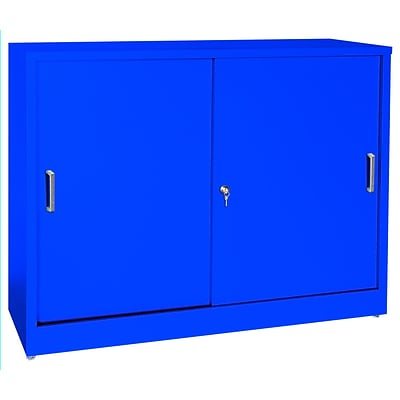 Sandusky® Elite 36 x 18 x 29 Counter Height Sliding Door Storage Cabinet, Blue