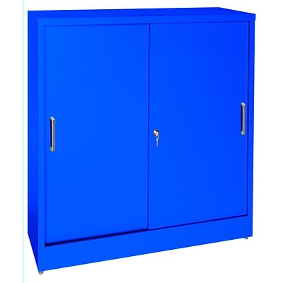 Sandusky® Elite 36 x 18 x 42 Counter Height Sliding Door Storage Cabinet, Blue