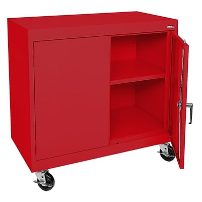 Sandusky® Elite 36 x 36 x 24 Transport Work Height Storage Cabinet, Red