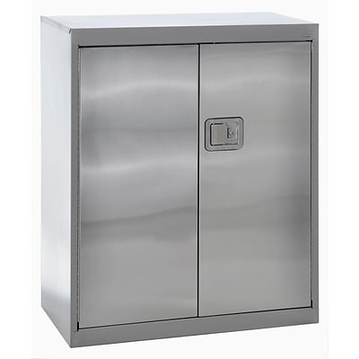 Sandusky® 36 x 18 x 42 Counter Height Storage Cabinet With Paddle Lock, Stainless Steel