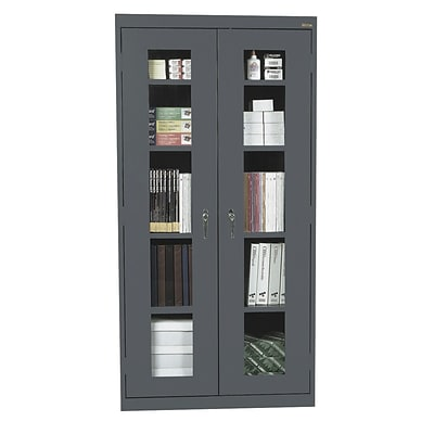 Sandusky® See Thru 36 x 24 x 72 Clearview Storage Cabinet, Charcoal