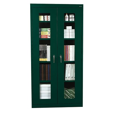 Sandusky® See Thru 36 x 24 x 72 Clearview Storage Cabinet, Forest Green