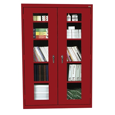 Sandusky® See Thru 46 x 24 x 78 Clearview Storage Cabinet, Red