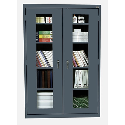 Sandusky® See Thru 46 x 24 x 78 Clearview Storage Cabinet, Charcoal