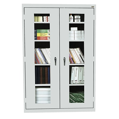 Sandusky® See Thru 46 x 18 x 72 Clearview Storage Cabinet, Dove Gray