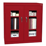 Sandusky® See Thru 46 x 24 x 42 Clearview Counter Height Storage Cabinet, Red