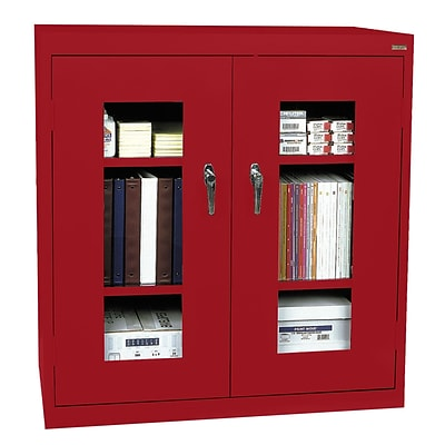 Sandusky® See Thru 36 x 24 x 42 Clearview Counter Height Storage Cabinet, Red