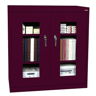 Sandusky® See Thru 36 x 24 x 42 Clearview Counter Height Storage Cabinet, Burgundy