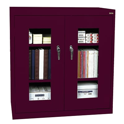Sandusky® See Thru 46 x 18 x 42 Clearview Counter Height Storage Cabinet, Burgundy