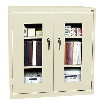 Sandusky® See Thru 46 x 18 x 42 Clearview Counter Height Storage Cabinet, Putty