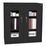 Sandusky® See Thru 46 x 24 x 42 Clearview Counter Height Storage Cabinet, Black