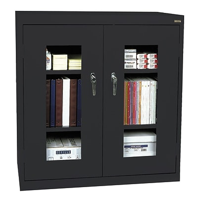 Sandusky® See Thru 46 x 18 x 42 Clearview Counter Height Storage Cabinet, Black