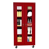 Sandusky® See Thru 36 x 24 x 78 Transport Mobile Clearview Storage Cabinet, Red
