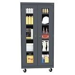 Sandusky® See Thru 36 x 18 x 78 Transport Mobile Clearview Storage Cabinet, Charcoal