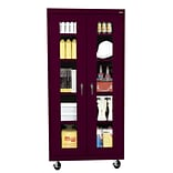 Sandusky® See Thru 36 x 24 x 78 Transport Mobile Clearview Storage Cabinet, Burgundy