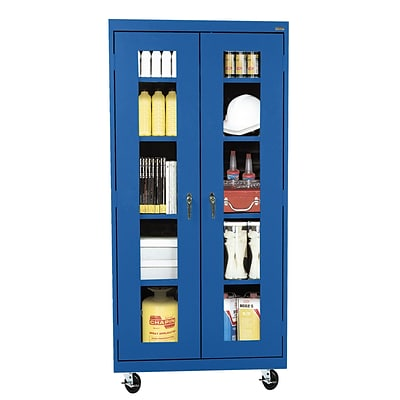 Sandusky® See Thru 36 x 24 x 78 Transport Mobile Clearview Storage Cabinet, Blue