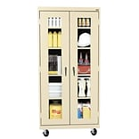 Sandusky® See Thru 36 x 24 x 78 Transport Mobile Clearview Storage Cabinet, Putty