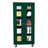 Sandusky® See Thru 36 x 18 x 78 Transport Mobile Clearview Storage Cabinet, Forest Green