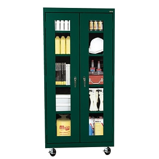 Sandusky® See Thru 36 x 24 x 78 Transport Mobile Clearview Storage Cabinet, Forest Green