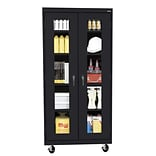 Sandusky® See Thru 36 x 24 x 78 Transport Mobile Clearview Storage Cabinet, Black