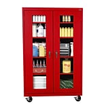 Sandusky® See Thru 46 x 24 x 78 Transport Mobile Clearview Storage Cabinet, Red