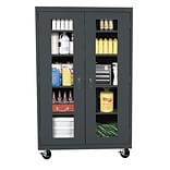 Sandusky® See Thru 46 x 24 x 78 Transport Mobile Clearview Storage Cabinet, Charcoal