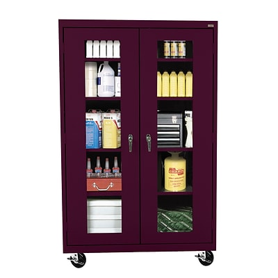 Sandusky® See Thru 46 x 24 x 78 Transport Mobile Clearview Storage Cabinet, Burgundy