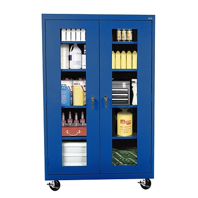 Sandusky® See Thru 46 x 24 x 78 Transport Mobile Clearview Storage Cabinet, Blue