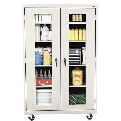 Sandusky® See Thru 46 x 24 x 78 Transport Mobile Clearview Storage Cabinet, Putty