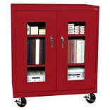 Sandusky® See Thru 46 x 24 x 48 Transport Mobile Clearview Counter Height Cabinet, Red