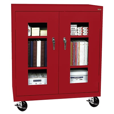Sandusky® See Thru 46 x 18 x 48 Transport Mobile Clearview Counter Height Cabinet, Red