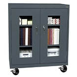 Sandusky® See Thru 36 x 18 x 48 Transport Mobile Clearview Counter Height Cabinet, Charcoal